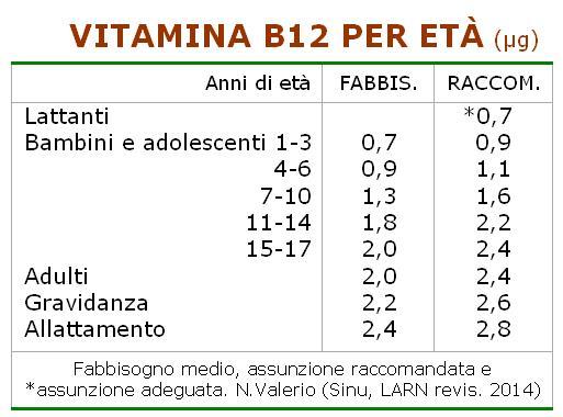 Vitamina B12 per età